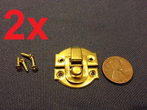 2 Sets Gold Mini Dollhouse Antique Wood Latch Sets Box Case Lock Hinge Small C6 (Antique Doll Wood)