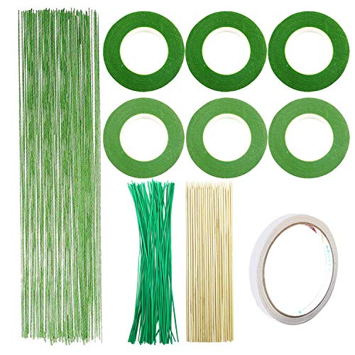 10 PCS Floral Arrangement Kit, Woohome Floral Kit with 2 Style Floral Tapes, 26 Gauge Stem Wire, Green Cable Tie and Bamboo Stick for Floral Design Lovers