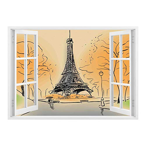 SCOCICI Peel and Stick Fabric Illusion 3D Wall Decal Photo Sticker/Paris City Decor,Paris Eiffel Tower with Autumn Leaves in Artistic Sketching Effect Holiday Landmark,/Wall Sticker Mural