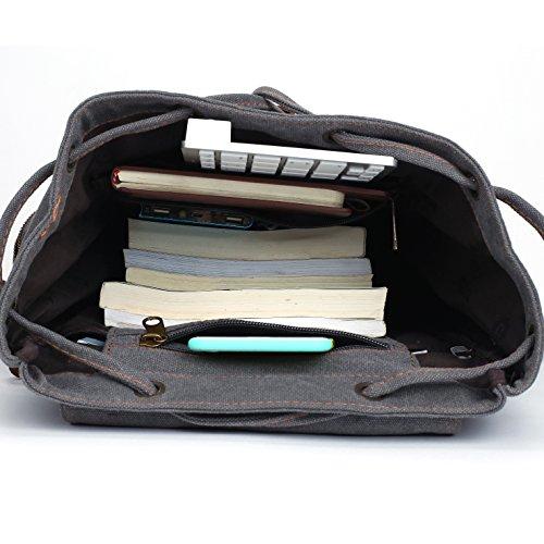 Canvas Vintage Rucksäcke BESTOPE Damen Herren Schulrucksack Retro Backpack für Campus Studenten und Outdoor Reisen Wandern mit Großer Kapazität Grey 8TOdLwfMp