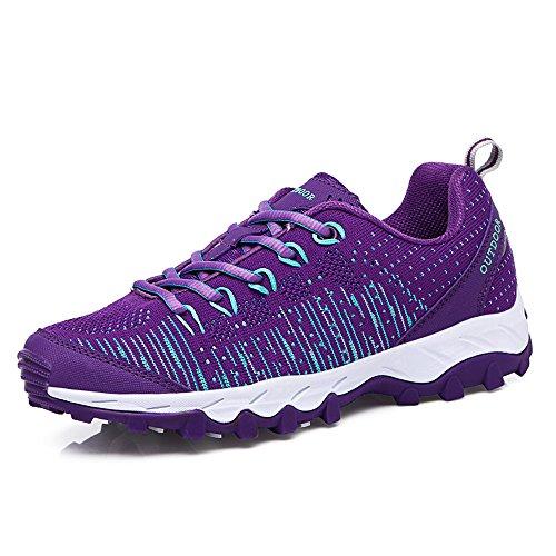 VENSHINE Mens Womens Trail Laufschuhe Leichte stricken Outdoor Walking  Wandern Schuhe Mode Turnschuhe Lila