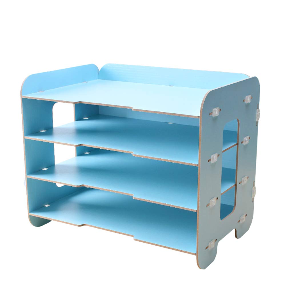 Heatleper 4 Tier Wooden Desktop Office Document Tray Holder, A4 File Rack Document Magazine Holder Desk Organizer for Office School Home Daily Use (Light Blue)