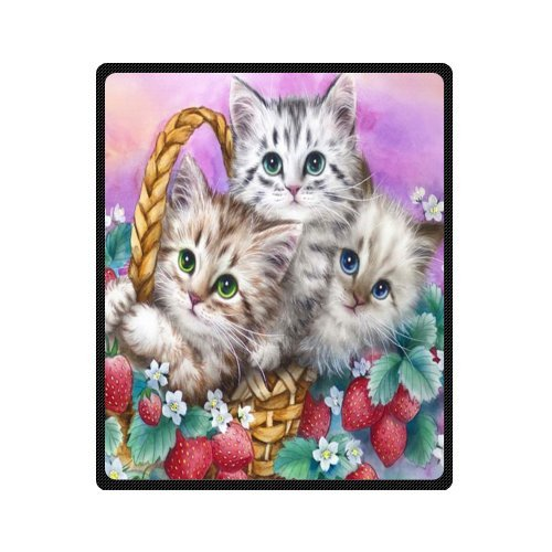 Funny Cats Strawberry Basket Kittens Comfy Polar Fleece Throw Blanket 50