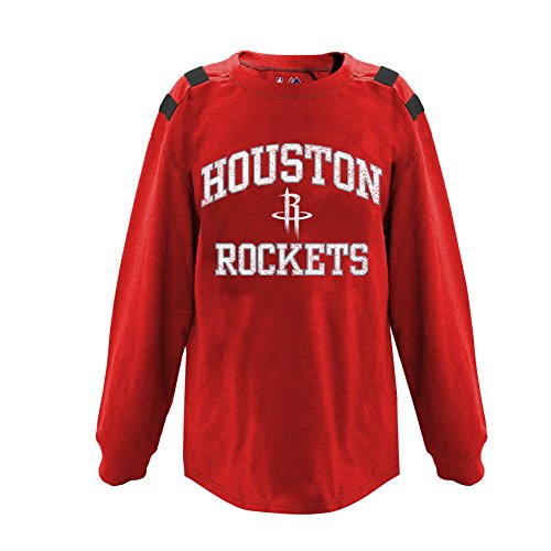(NBA Houston Rockets Children Unisex NBA Youth Long Sleeve with Shoulderpiece,L,Red Heather/Black)