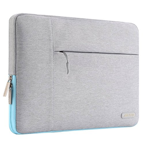MOSISO Laptop Sleeve Compatible 2018 MacBook Air 13 A1932 Retina Display/MacBook Pro 13 A1989 A1706 A1708 USB-C 2018 2017 2016/Surface Pro 6/5/4/3, Polyester Multifunctional Bag, Gray & Hot Blue