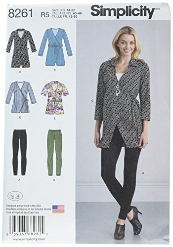 - Simplicity Patterns US8261R5 8261 Misses' Wrap Tunic in Two Lengths and Knit Leggings, Size: R5 (14-16-18-20-22)