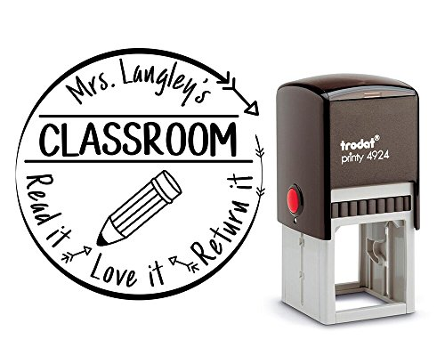(Remarkable Customized Library Rubber Stamp. With a School Pencil graphic. Perfect for Teacher Resources. Large Round 3 Lines, size approx. 1 5/8 x 1 5/8. 6 Ink Colors available!)