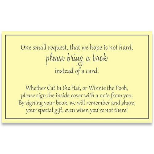 Free Baby Shower Cards (Gender Neutral Baby Shower, Bring a Book Inserts, Yellow and Gray, Poem, Printed Instert Cards, Free Shipping, YELLO, Request, Insert)