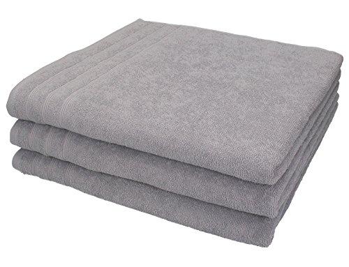 Betz 3 Stück Duschtücher Badetücher Größe 70x140 cm 100% Baumwolle Duschhandtücher Sporthandtuch Handtücher Set ENGLAND Farbe Grau