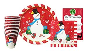 Christmas Disposable Dinnerware Set for Your Holiday Party - Red Snowflake Snowman - Plates, Cups, Napkins Plus Fudge Recipe (Serves 14)