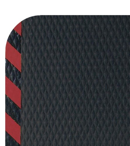 M+A Matting 423 Nitrile Rubber Hog Heaven Anti-Fatigue Mat with Red Striped Border, 3' Length x 2' Width x 5/8