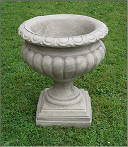 - Set of 2 Burnt Umber Finished Outdoor Garden Fluted Urn Planters 27