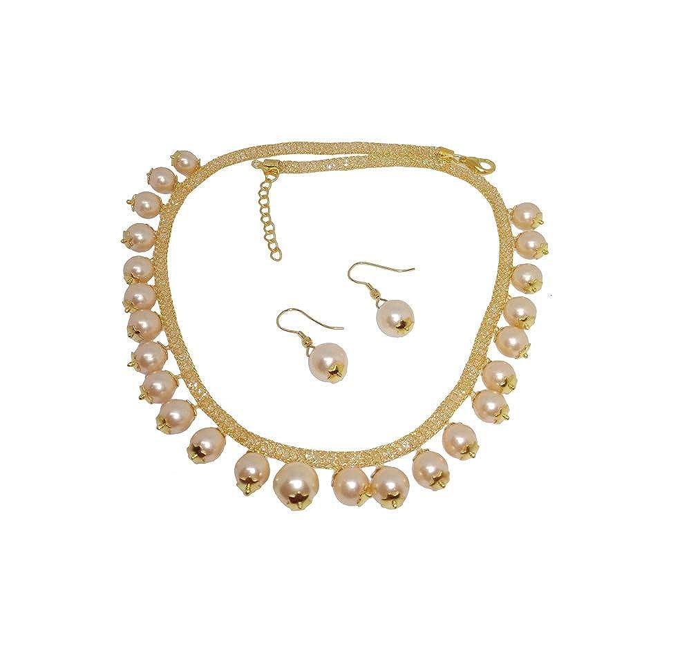 f307ad263e627 Amazon.com: DAPHNE Stylish Zircon Studded Light Pink Creamy Pearls ...
