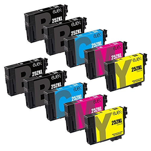 ejet Remanufactured Ink Cartridge Replacement for Epson 252XL 252 to use with WorkForce WF-7710 WF-7720 WF-3620 WF-3640 WF-7610 WF-7620 WF-3630 Printer (4 Black, 2 Cyan, 2 Magenta, 2 Yellow) 10 Pack