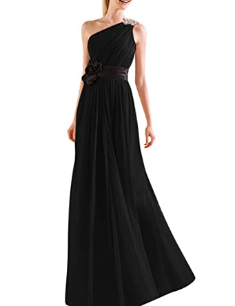 JY Womens Ruched One Shoulder Bridesmaid Dresses Prom Dresses Evening Dresses US 2 Black