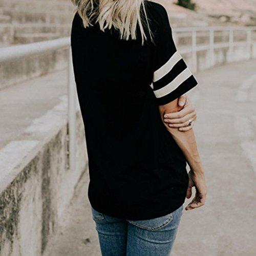 Femme Beaucoup de Ados Losse 2 Courtes Rayures Uni Shirt Sweatshirt Sweat Couleurs Fille SANFASHION Noir Manches Chic t 6A1dZ6qw