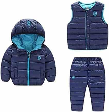 d6e4407461f00 1  2  3. Kids Windproof Warm Puffer Jacket Vest Ski Pants Three-Piece  Snowsuits