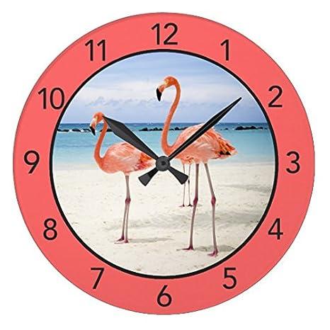 Reloj de pared con diseño de flamenco rosa envejecido, decoración para sala de estar,