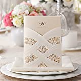 Vertical Laser Cut Wedding Invitation Cards with White Hollow Flora for Marriage Party Supplies CW060 (100)