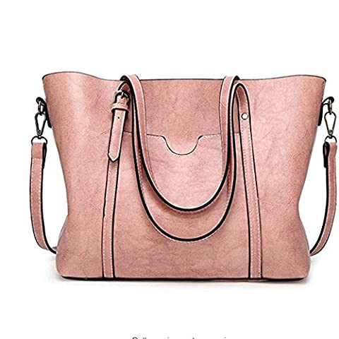 KARRESLY Vintage Leather Women Top Handle Satchel Handbags Shoulder Bag Casual Shopping Messenger Tote Bag - Pink Laptop Tote