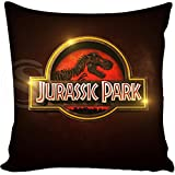 13.7 X 13.7 inches Red Jurassic Park Decorative Pillowcase, Brown Dinosaur Throw Pillow Cover Jurassic World T Rex Cushion Cover Adventure Movie Themed Animal Print Zippered Plain, Polyester