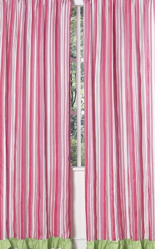 Sweet Jojo Designs 2-Piece Pink and Green Olivia Stripe Window Treatment Panels
