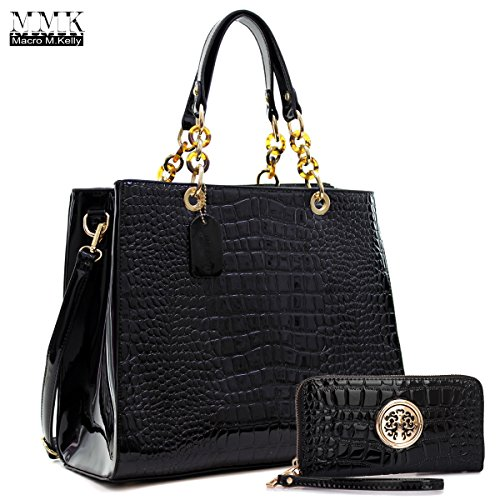 MMK collection Fashion Packlock Handbag for Women` Signature fashion Designer Purse with spring in trending colors~Perfect Women Satchel Purse ~ Beautiful Designer handbag (KK-03-174(10-168)-Black)