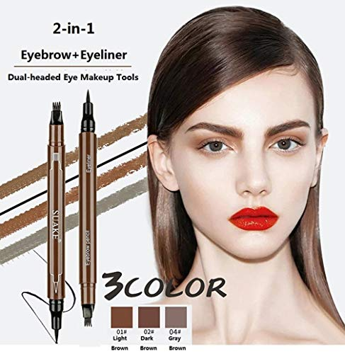 2 in 1 Eyebrow Pencil + Eyeliner, Latest Fork-Tips Tattoo Eyebrow Pen with Black Liquid Eyeliner, Double-headed Waterproof Smudgeproof Stay All Day Eyebrow Pencils Eye Liner (1# Light Brown)