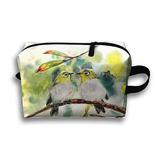 LEIJGS Couple Birds Kiss Small Travel Toiletry Bag Super Light Toiletry Organizer For Overnight Trip Bag by LEIJGS