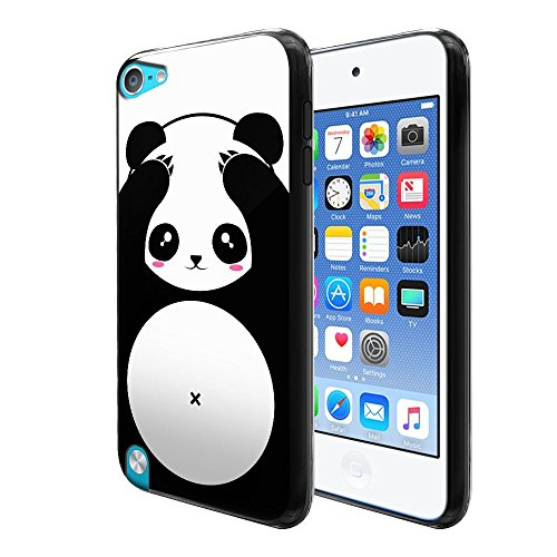 FINCIBO iPod Touch 5 6 Case, Flexible TPU Black Silicone Soft Gel Skin Protector Cover Case For Apple iPod Touch 5 (5th Generation) iPod Touch 6 (6th Generation) - Panda Bear Black White Style