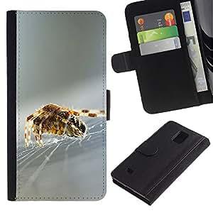 KingStore / Leather Etui en cuir / Samsung Galaxy Note 4 IV / Telara?a Naturaleza Seda Plata borrosa
