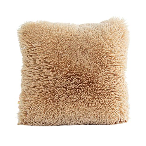 KMG Kimloog Faux Fur Square Throw Cushion Covers 18 x 18 Inch Fluffy Plush Couch Home Decor Couch Pillow Case (Khaki)
