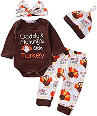 Baby Boys Girls Clothes 4PCS Thanksgiving Outfit Set Daddy Mommys Little Turkey Cute Romper