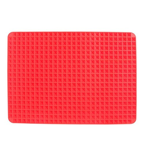 Price comparison product image Grill Pad,Oven Baking Tray Sheets Pyramid Pan Non Stick Fat Reducing Silicone Cooking Mat Food-grade silicone (Size:41x28.5cm)