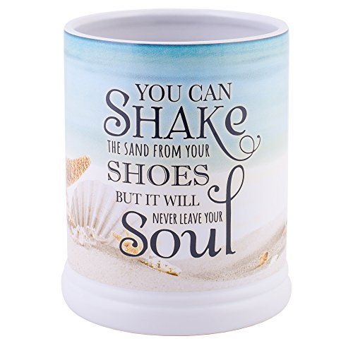 (Elanze Designs Shake The Sand from Shoes Beach and Ocean Stoneware Electric Jar Candle)