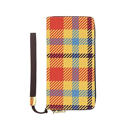 Leather Purse Wallet Plaid...
