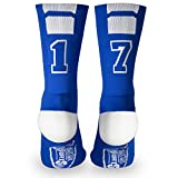 Custom Team Number Crew Socks | Athletic Socks by ChalkTalkSPORTS | Blue | 17