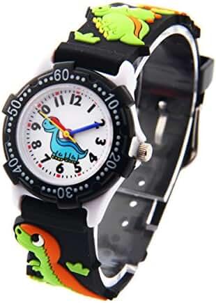 Wdnba Kids Outdoor Sports Children's Waterproof Wrist Watch Dinosaur 3D Watches for Boy Girl - Black