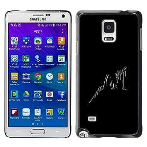 [Neutron-Star] Snap-on Series Teléfono Carcasa Funda Case Caso para Samsung Galaxy Note 4 [Negro Blanco Foto Sexy chica mujer rayas]