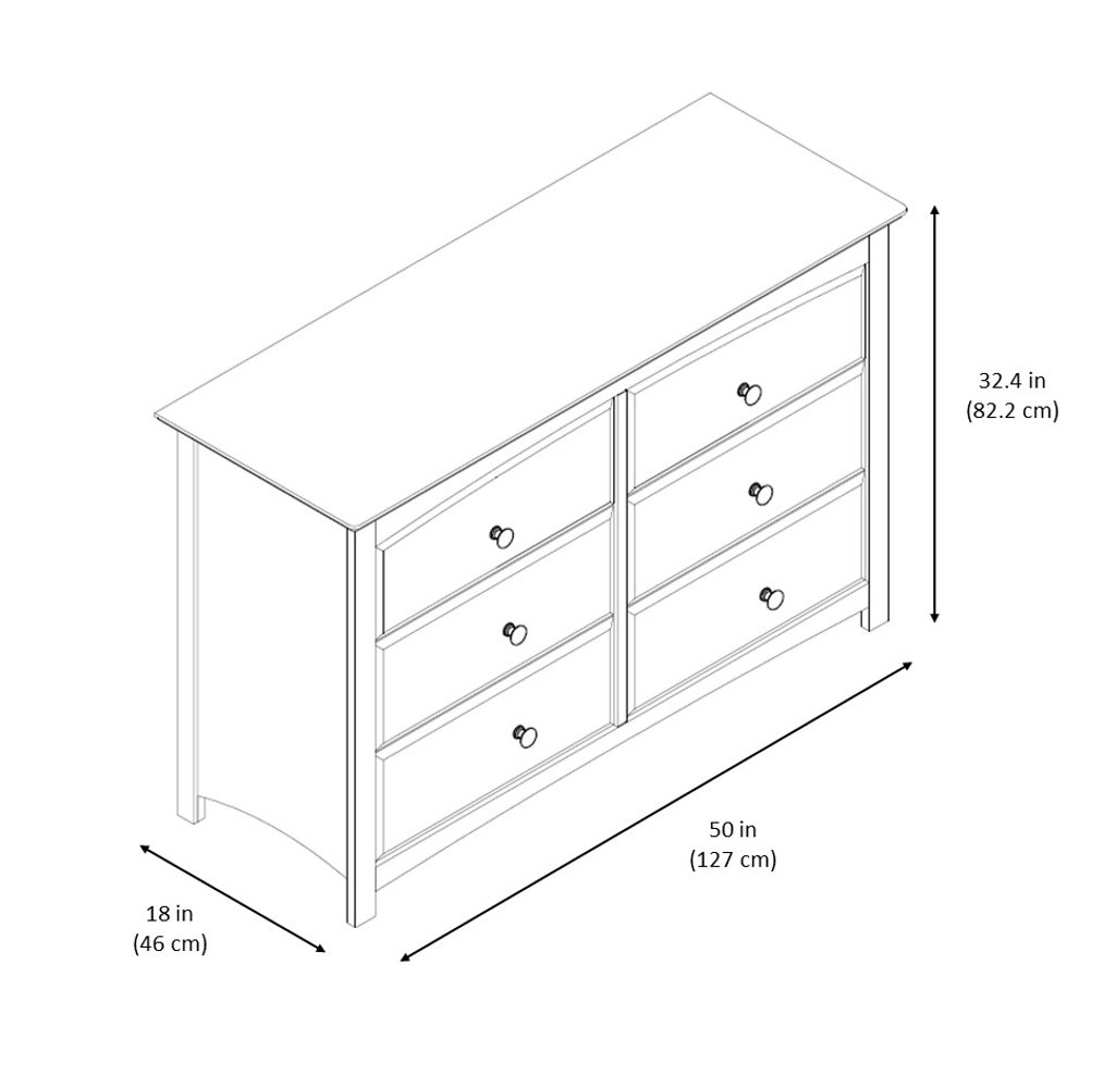 Storkcraft Kenton 6 Drawer Double Dresser Black