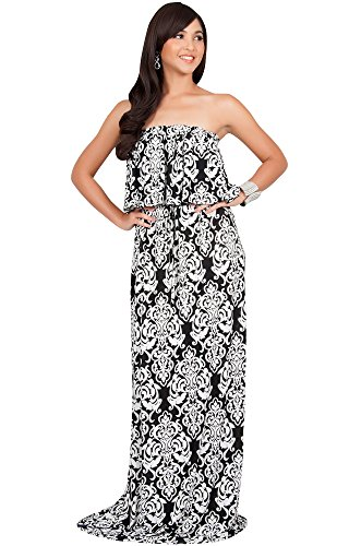 KOH KOH Plus Size Women Long Strapless Sexy Tube Cute Print Summer Boho Printed Beach Semi Formal Casual Sundress Sundresses Gown Gowns Maxi Dress Dresses, Black and White 3 X 22-24