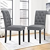 Set of 2 Upholstered Fabric Dining Chair with Button-tufted Details (Gray)