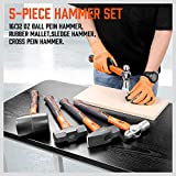 HORUSDY 5-Piece Hammer Set, 16oz Ball Pain Hammer | 32oz Ball Pain Hammer | 32oz Rubber Mallet | 3lb Sledge Hammer | 3lbCross Pain Hammer