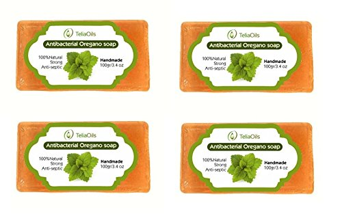 Oregano soap for deep skin cleaning - Powerful Antiseptic. For nail & skin infections, Athlete's foot, acne etc 100% safe & effective, For all skin types/pack of 4 x 100gr