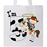 Inktastic - Im Five-cowboy riding horse birthday Tote Bag White