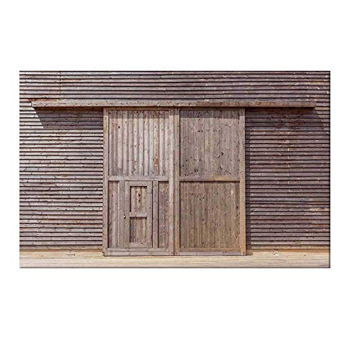 - YOLIYANA Industrial Durable Door Mat,Old Wooden Timber Oak Barn Door Farmhouse Countryside Rural House Village Artsy Print for Home Office,19.6