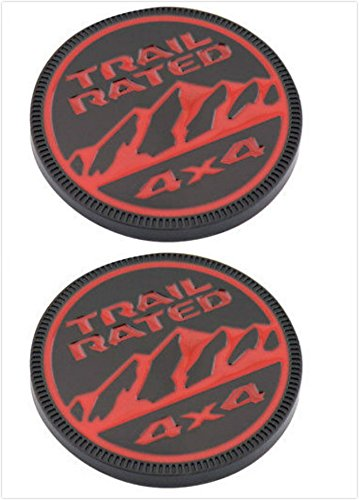 Boobo J-05R 2 X 2018 Wrangler JL Metal Offroad Trail Rated Nameplate 4X4 Badge Emblem Decal for Jeep (Black/Red)