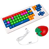 """DURAGADGET Colourful """"Kid's Proof"""" Childrens, Special Needs Or Sight impaired PC Keyboard PS2/USB - Great For Teaching / Learning + BONUS Fun 'Novelty' Strawberry Shaped Mouse!"""