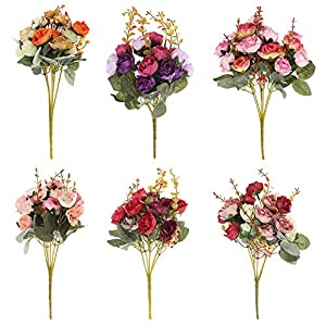 Asiproper 21 Heads/Bouquet Silk Rose Artificial Flower Bouquet Fake Dried Flowers 25