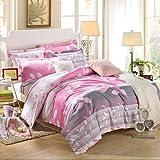 zhENfu Gray and pink 100% Cotton Bedclothes 4pcs Bedding Set Queen Size Duvet Cover Set,Queen